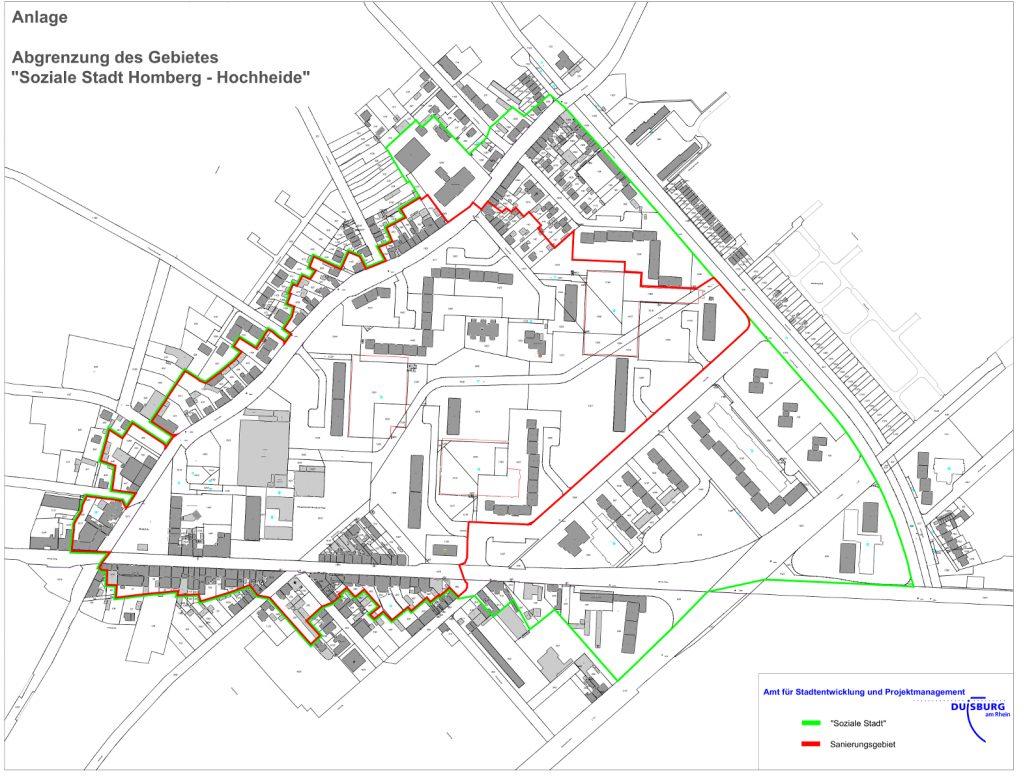 """Karte mit der Abgrenzung des Gebietes der """"Sozialen Stadt"""""""